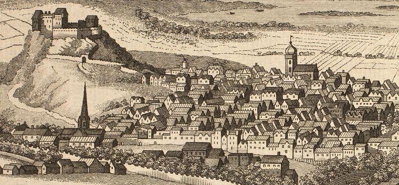 Vue sur Edimbourg (aujourd'hui Old Town) et son chateau vers 1780.