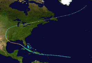 The path of the 1900 Galveston hurricane. It begins over the open Atlantic Ocean and crosses Hispaniola and Cuba as a tropical storm. The storm strengthens over the Gulf of Mexico, becoming a Category 4 before striking Texas. The cyclone then moves north and eventually recurves east-northeastward over the Midwest. After that, the system tracks across the Midwest and eastern Canada, before reaching the Atlantic again and ending near Iceland