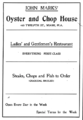 1905 John Marks Oyster and Chop House advert 12th Street in Miami Florida.png