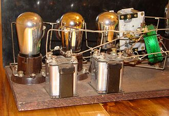 Breadboard - This 1920s TRF radio manufactured by Signal was constructed on a wooden breadboard.