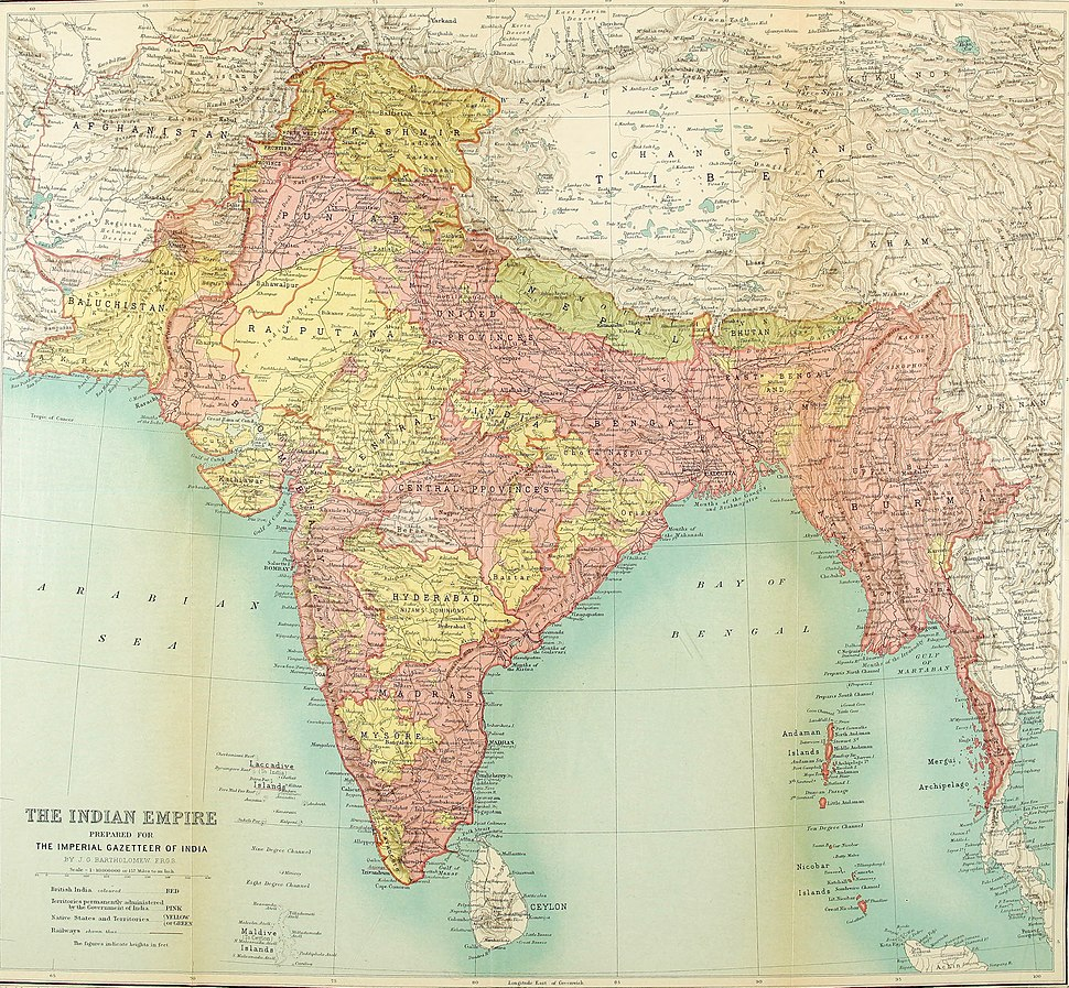 1922 Map of India by Bartholomew in Imperial Gazetteer of India