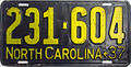 1937 North Carolina license plate.JPG