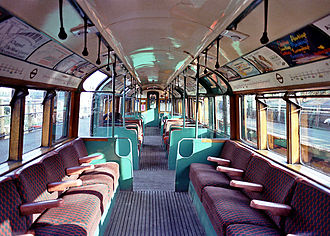 Moorgate tube crash - Interior of a type of train carriage involved in the crash