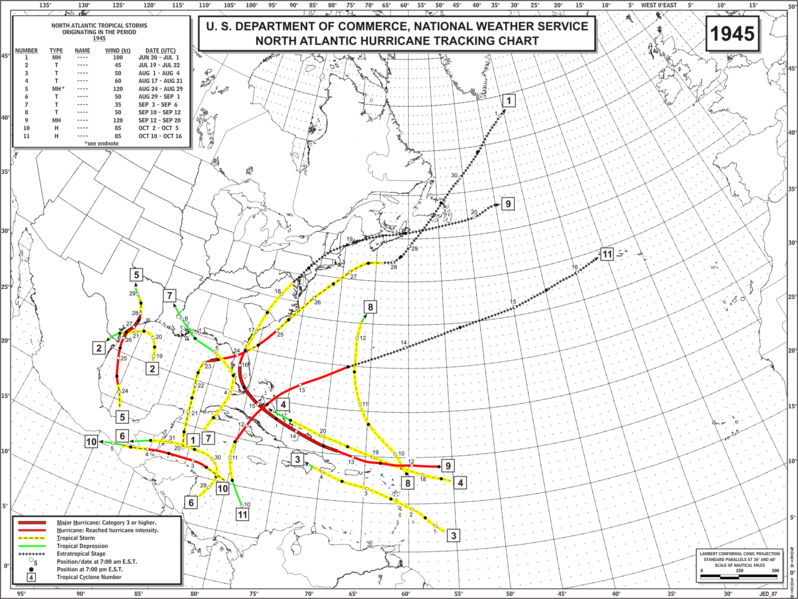 File:1945 Atlantic hurricane season map.png