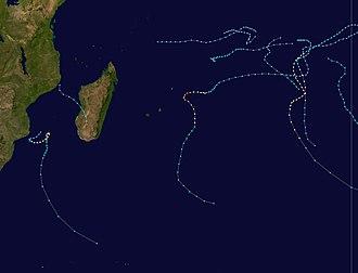 1990–91 South-West Indian Ocean cyclone season - Image: 1990 1991 South West Indian Ocean cyclone season summary