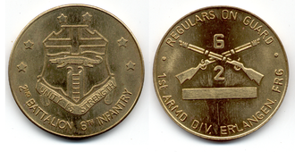 6th Infantry Regiment (United States) - 2nd Battalion, 6th Infantry Regiment Coin of Excellence, 1984–1992, Erlangen, Germany.