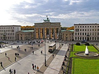 Town square - Pariser Platz with Brandenburger Tor, in Berlin, Germany