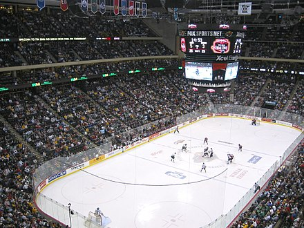 The University of North Dakota and St. Cloud State University during the WCHA Final Five at the Xcel Energy Center. 2006 WCHA Final Five.jpg