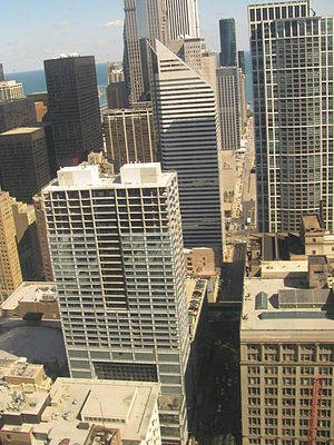Joffrey Tower - September 14, 2007 - Joffrey Tower Construction from Richard J. Daley Center Also:(South Side of Randolph Front to back Macy's Flagship at State Street, The Heritage, Millennium Park, Lake Michigan, North Side 150 North Michigan Avenue, Two Prudential Plaza, Aon Center)