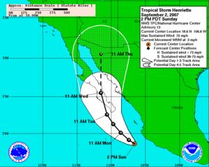 Hurricane Henriette (2007) - September 2 five-day forecast track map