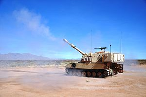 Brigade Modernization Command - 2/1 AD soldiers firing the Paladin at White Sands Missile Range. (Photo By Wes Elliott, U.S. Army)