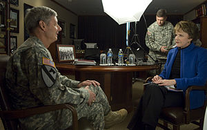 Margaret Warner - Margaret Warner (right) interviewing General Walter L. Sharp during a documentary on the Republic of Korea (2011)