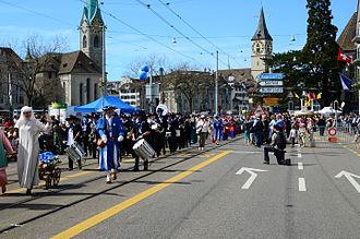 Limmatquai - The Sechseläuten parade on Limmatquai