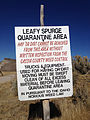 2014-10-20 13 21 41 Leafy Spurge Quarantine Area sign along Goose Creek Road where it crosses from Box Elder County, Utah into Cassia County, Idaho.JPG