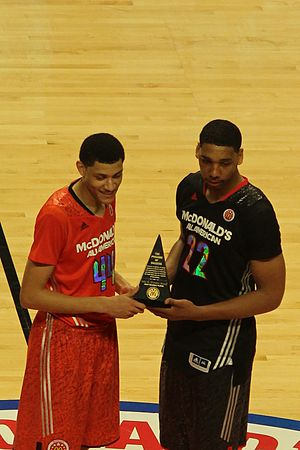 2014 McDonald's All-American Boys Game - Jahlil Okafor (black uniform) and Justin Jackson (red uniform) being honored as co-MVPs