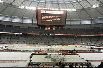 2014 Heritage Classic - The rink inside BC Place before pregame warmups