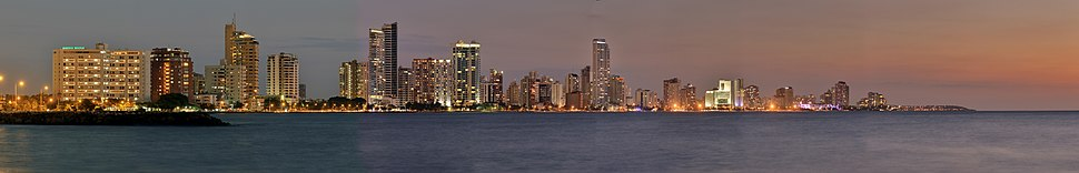 Bocagrande's skyline at twilight from the old town, in the year 2008.