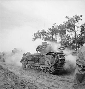 6th Guards Tank Brigade (United Kingdom) - Churchill tanks of 6th Guards Tank Brigade laying a smokescreen during the advance on Venray, Netherlands, 17 October 1944
