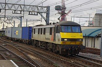 Rail freight in Great Britain - An example of intermodal freight: a Freightliner Class 90 at Stratford, hauling an intermodal train from Crewe to Felixstowe
