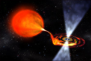 PSR B1257+12 C - An artist's impression of a pulsar accreting material from a stellar companion.