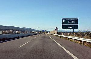 Autopista AP-8 - Galician border seen towards Guitiriz.