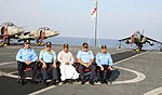A. K. Anthony and Indian Navy officers aboard INS Viraat during TROPEX-2012.jpg