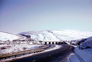 A74 road - The A74 south of Beattock Summit in February 1969