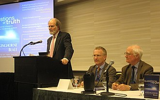 Questions of Truth - Launch at 2009 AAAS Annual Conference with President James J. McCarthy (standing) and authors