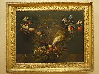 Stillleben mit Blumen, Früchten, Vögeln (?)