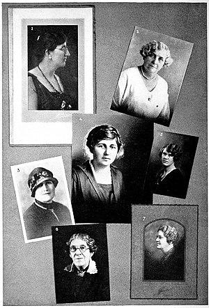 Reah Whitehead - 1) Cora M. Beach, 2) Helen Norton Stevens, 3) Lois Randolph, 4) Reah Whitehead, 5) Rachel Fitch Kent, 6) Martha Edergton Plassmann, 7) Minnie F. Howard