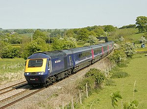 Reading–Taunton line - A Great Western HST approaching Great Cheverell on its way to Westbury.