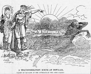 Transformation scene - Transformation scene in a political cartoon of 1898