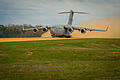A U.S. Air Force C-17 Globemaster III aircraft takes off from the Geronimo landing zone during Joint Readiness Training Center (JRTC) 14-05 training at Fort Polk, La., March 14, 2014 140314-F-XL333-266.jpg