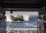 A U.S. Navy landing craft, air cushion assigned to Assault Craft Unit 4 prepares to enter the well deck of the amphibious transport dock ship USS San Antonio (LPD 17) in the Gulf of Aqaba June 6, 2013 130606-M-HF949-003.jpg
