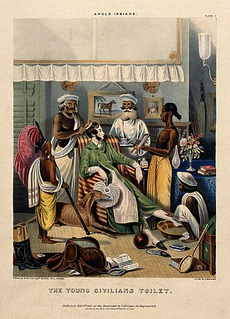 Anglo-Indian - A male Anglo-Indian being washed, dressed and attended.