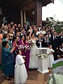 A pair of white doves released outside a church after a wedding ceremony in Sydney, Australia.jpg