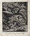 A wolf lying in wait for its prey in a forest. Etching by J. Wellcome V0021057EL.jpg