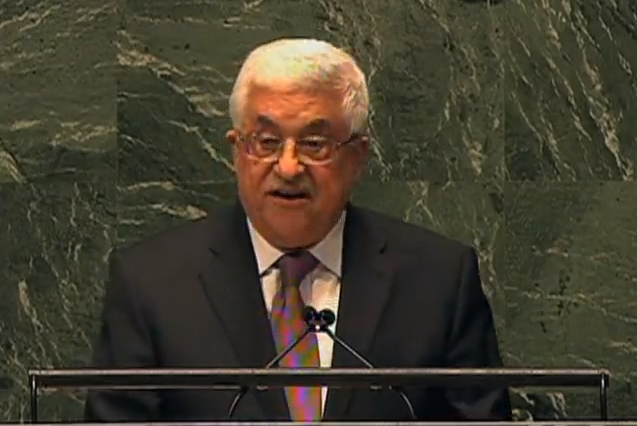 Abbas speaking after Palestine recognition resolution
