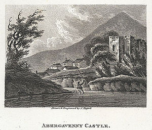 Abergavenny Castle - J. Hassell, Abergavenny Castle, drawing and engraving, 1807.