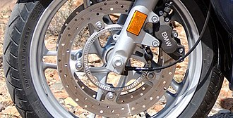 Anti-lock braking system - ABS brakes on a BMW motorcycle