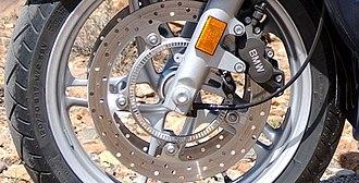 Anti-lock braking system - ABS brakes on a BMW motorcycle