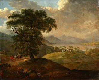 Johann Adam Ackermann - Mountain Landscape with Travellers, 1819