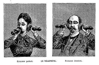 Adolphe Bitard - The telephone: Personne parlant et personne écoutant.