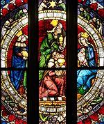 La adoración de los magos, detalle. Vitral, Alemania, ca. 1400.
