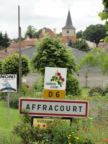 Affracourt (M-et-M) city limit sign