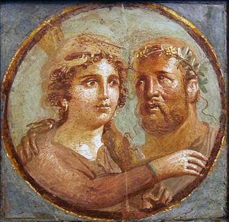 Roman art - Heracles and Omphale, Roman fresco Pompeian Fourth Style (45-79 AD), Naples National Archaeological Museum, Italy