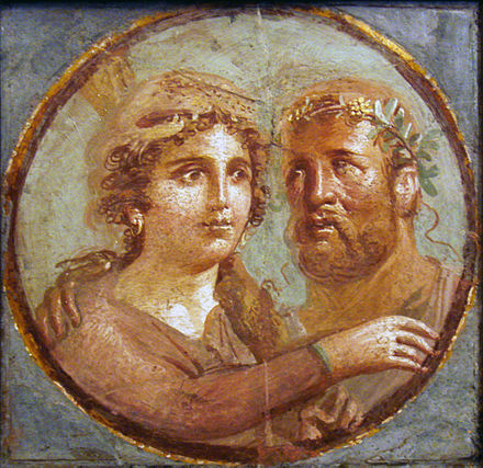 Heracles and Omphale, Roman fresco, Pompeian Fourth Style (45–79 CE), Naples National Archaeological Museum, Italy