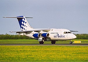 AirBaltic - A former airBaltic Avro RJ70 in historic livery which was retired in 2005