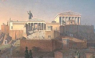 ancient sculpture of Phidias in Athens Acropolis