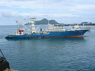 Fishing industry - Modern Spanish tuna purse seiner in the Seychelles Islands